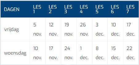 3 Jarigen Kerstcursus Tabel Datums