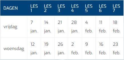 3 Jarigen Korkuscursus Tabel Datums