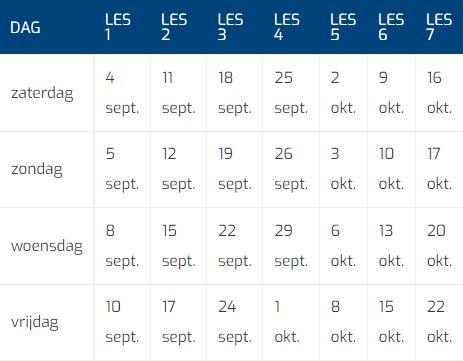 Herfstcursus 2021 Tabel Datums