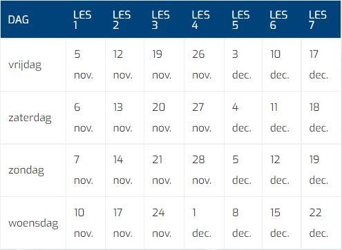 Kerstcursus 2021 Tabel Datums