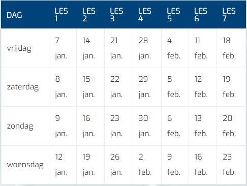 Krokuscursus 2021 2022 Tabel Datums