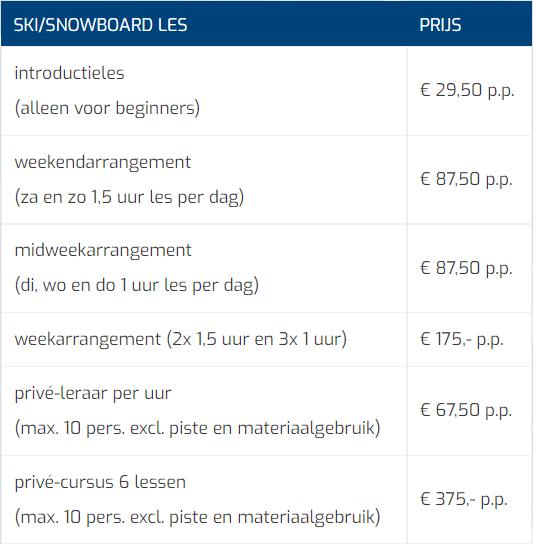 Prijslijst Skien En Snowboarden MOBIEL