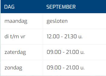 Tabel Openingstijden September Mobiel (kort)