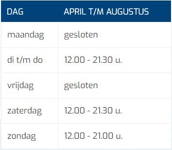 Tabel Openingstijden April Tm Augustus Mobiel (kort)