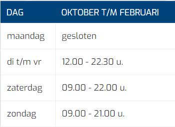 Tabel Openingstijden Oktober Tm Februari Mobiel (kort)