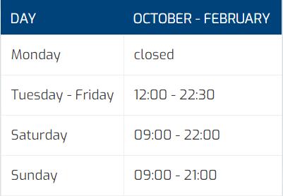 tabel openingstijden October - February (ENG)
