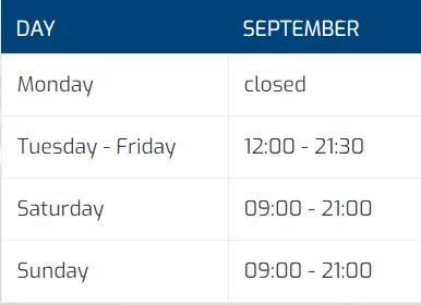 tabel openingstijden September (ENG)